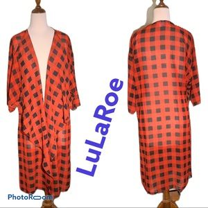 LuLaRoe Long Black/Red Light Duster cardigan
